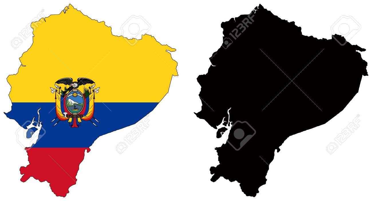 Ecuador Vector Flag Vector Map And Flag of Ecuador
