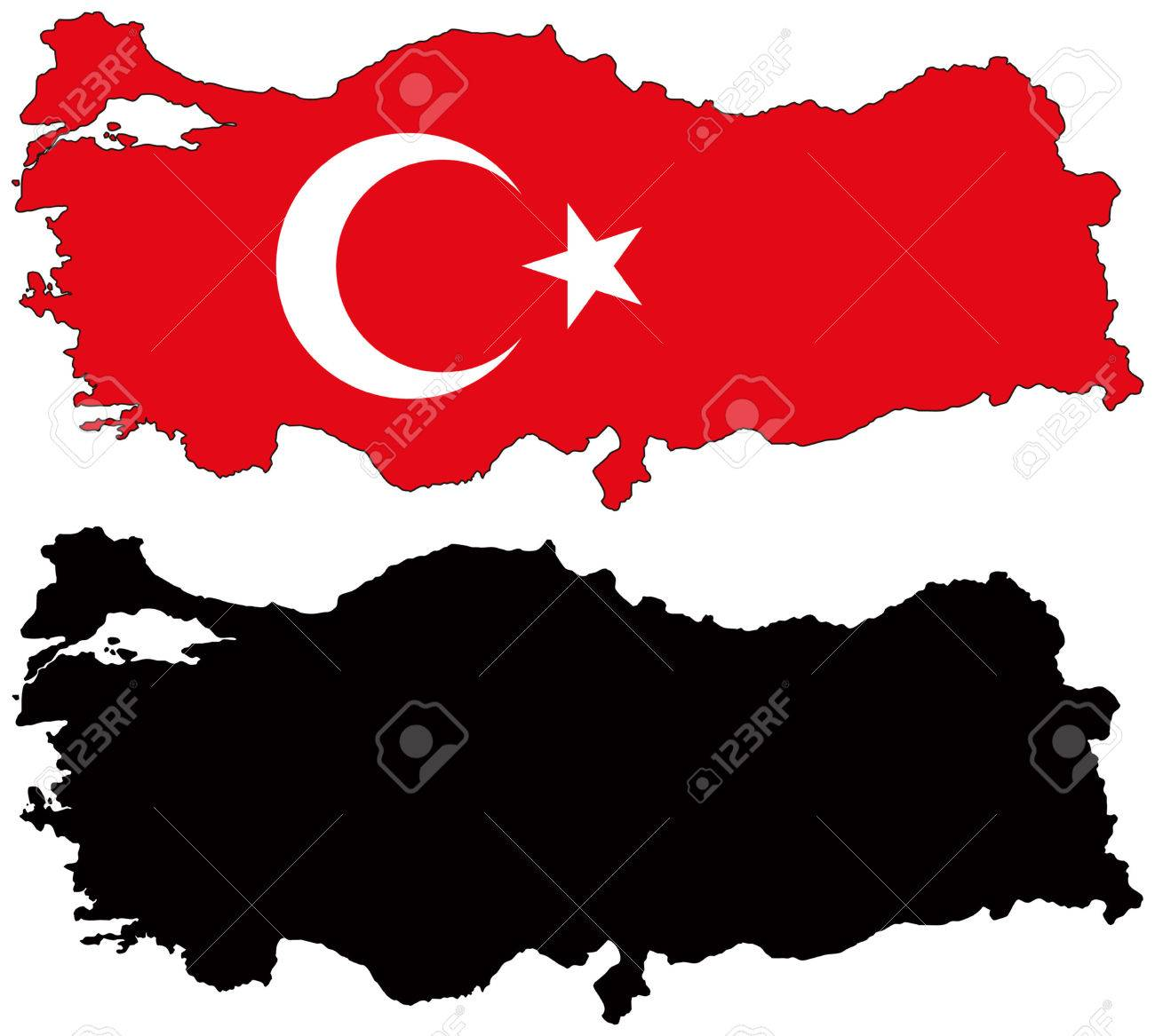 Vector Map And Flag Of Turkey Royalty Free Cliparts, Vectors, And ...