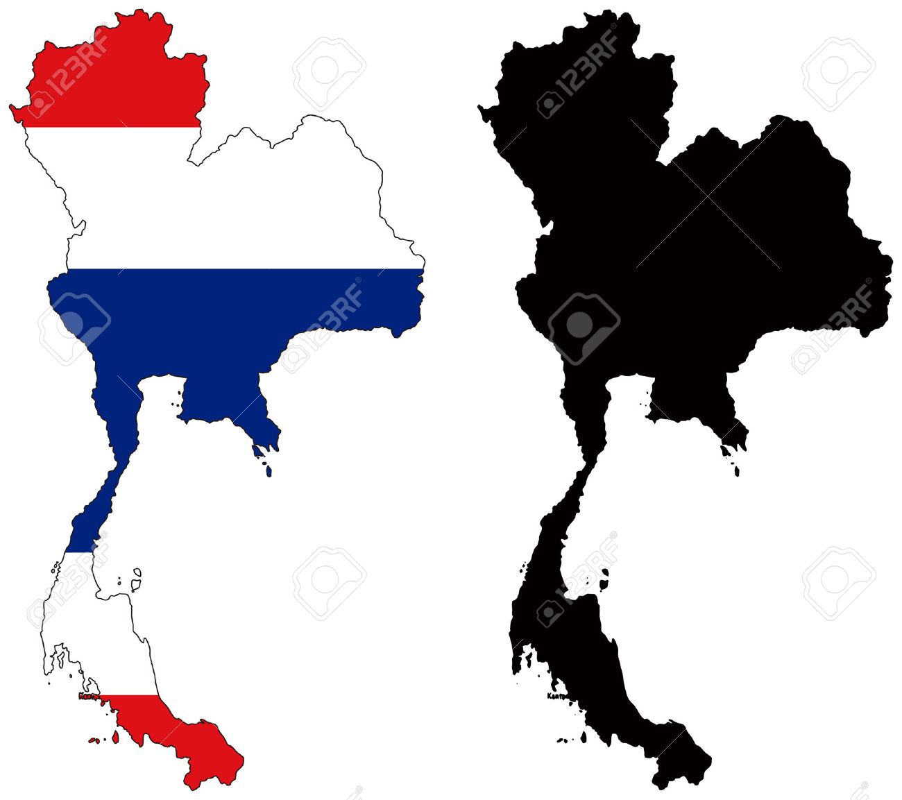 Vector Map And Flag Of Thailand Royalty Free Cliparts, Vectors, And ...