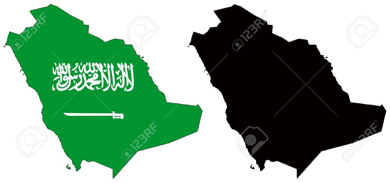 Saudi Arabia Map Flag Vector Map And Flag of Saudi