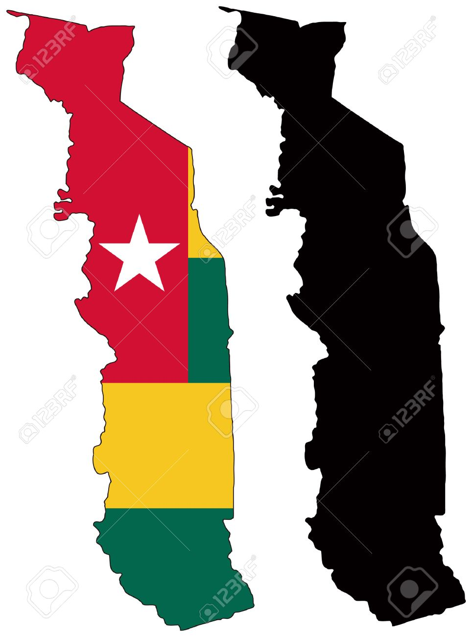 Vector Map And Flag Of Togo Royalty Free Cliparts Vectors And - Togo map outline