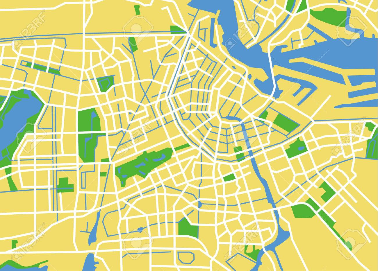 Precisely Vector City Map Of Amsterdam Netherlands Royalty Free