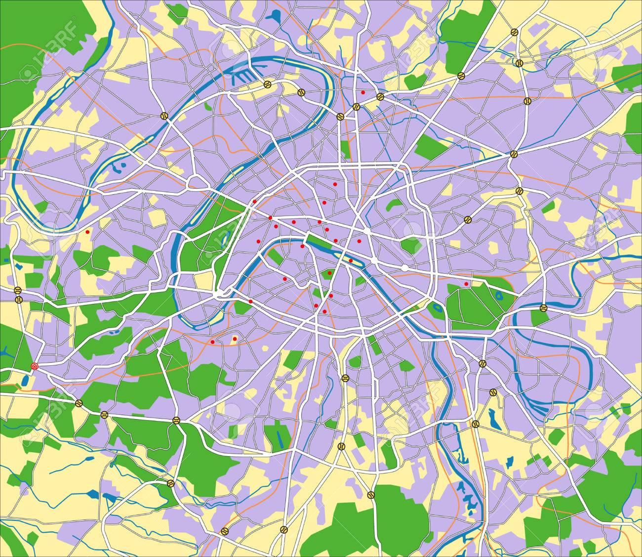 層状ベクトル都市地図パリのフランスのイラスト素材ベクタ Image
