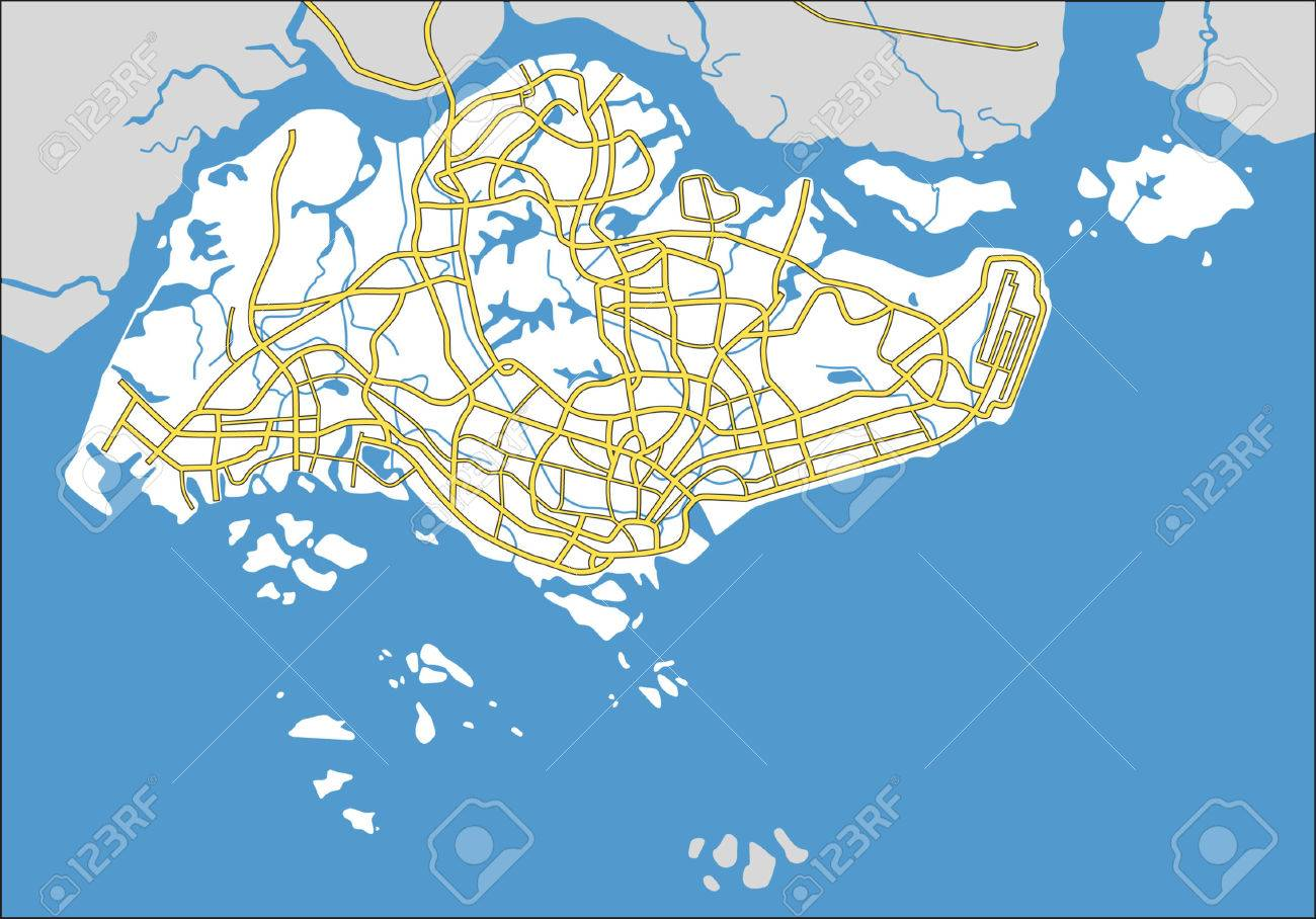 Layered Vector Pattern City Map Of Singapore Royalty Free
