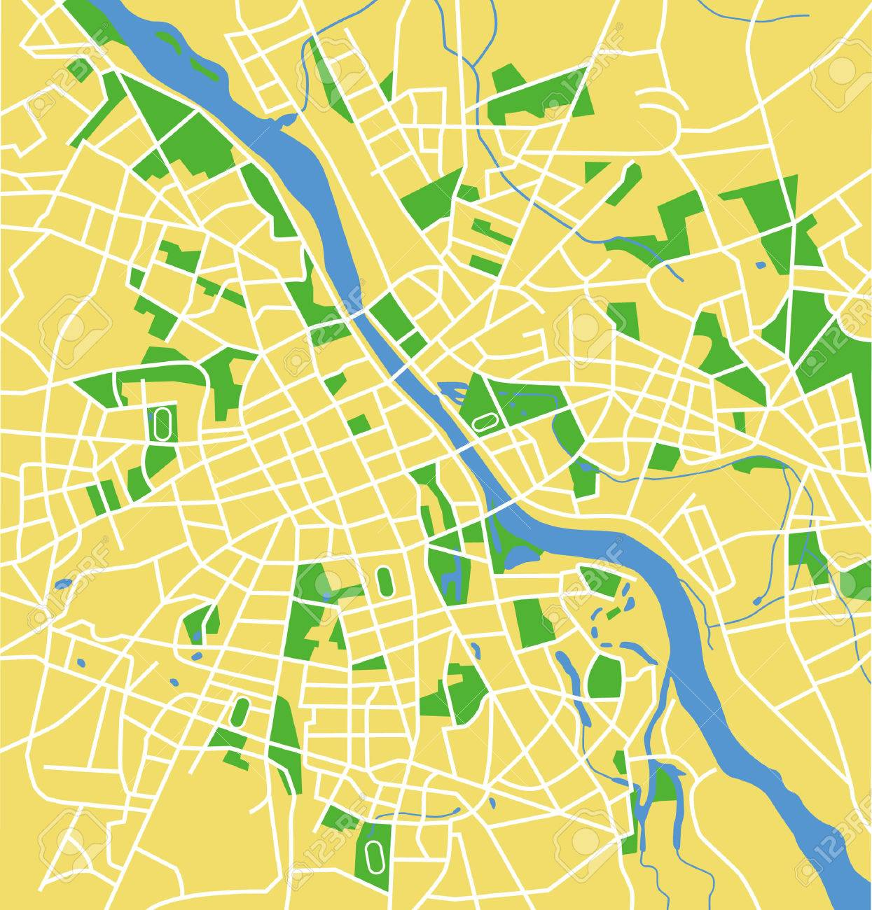 Precisely Vector City Map Of Warsaw Poland. Royalty Free Cliparts ...