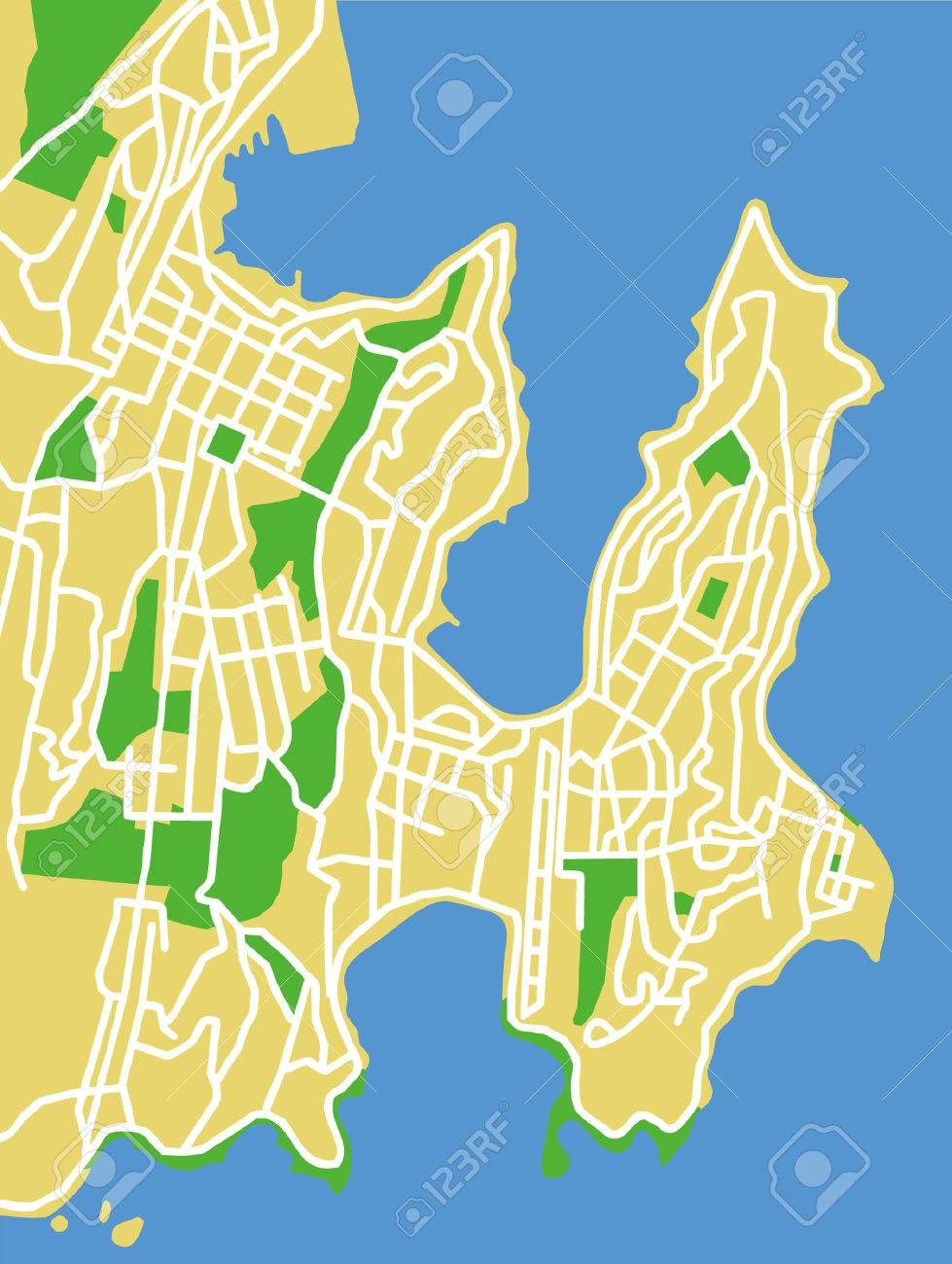 Map Of Wellington New Zealand.Vector City Map Of Wellington New Zealand