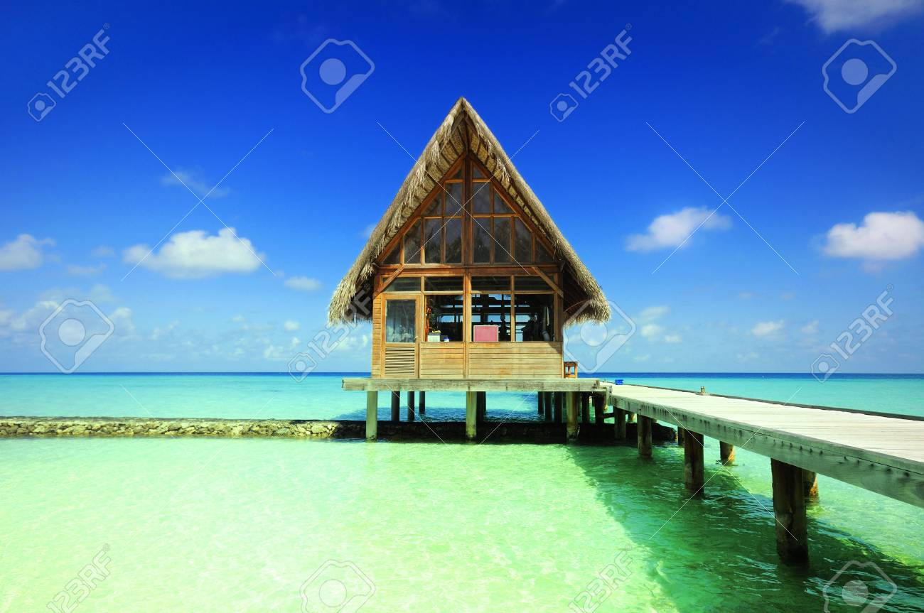 thatched house at maldives Stock Photo - 6454936