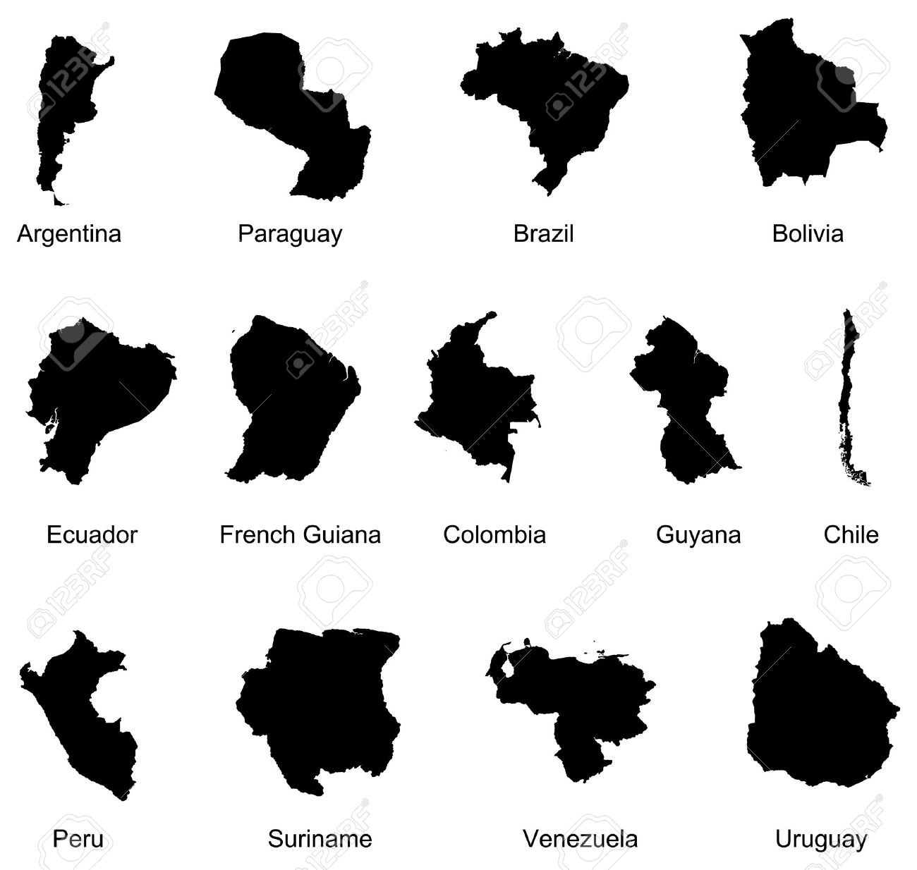 13 south america countries royalty free cliparts vectors and