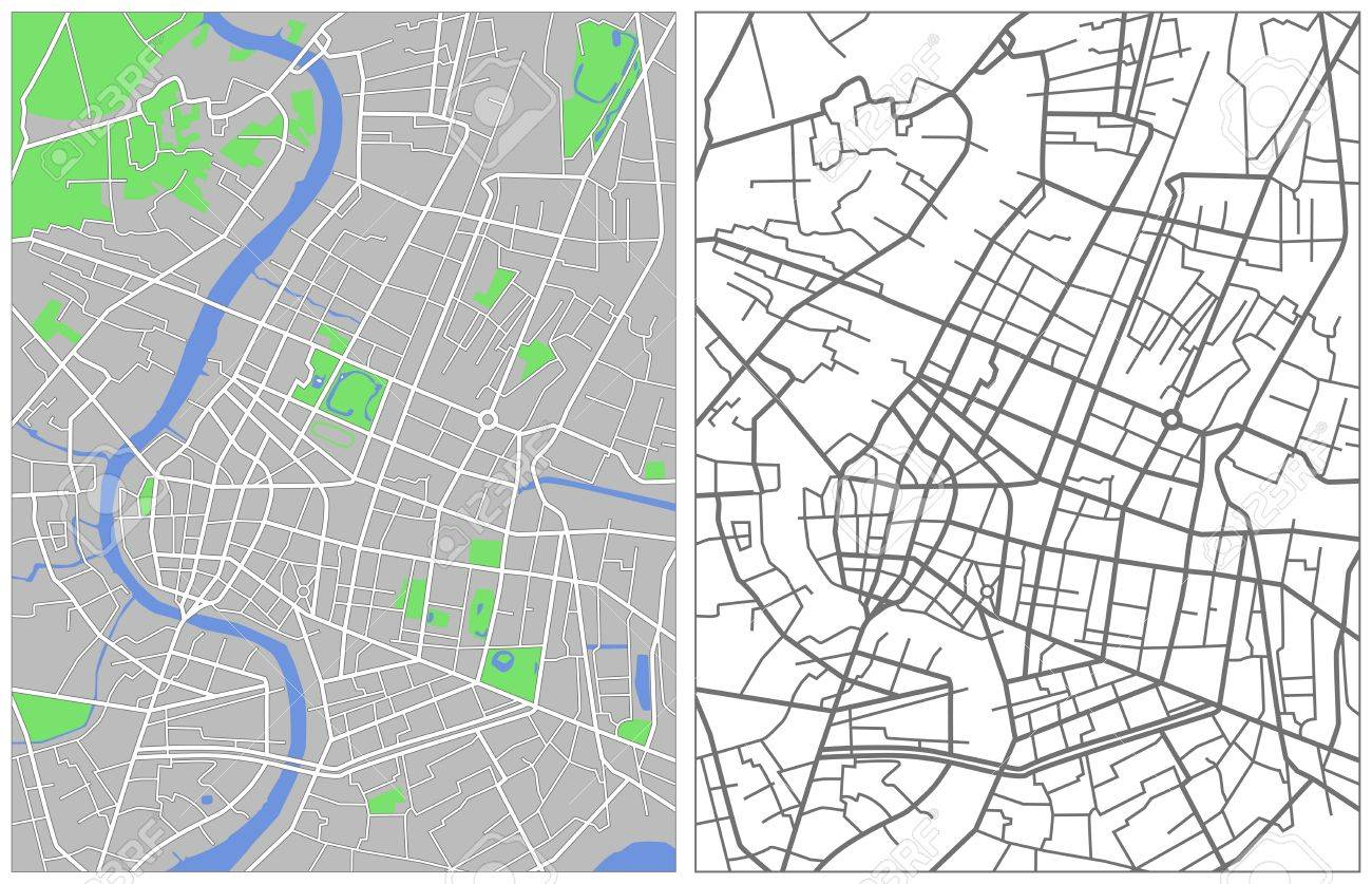 Illustration city map of Bangkok Stock Vector - 6865599