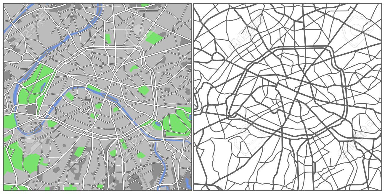 Illustration city map of Paris
