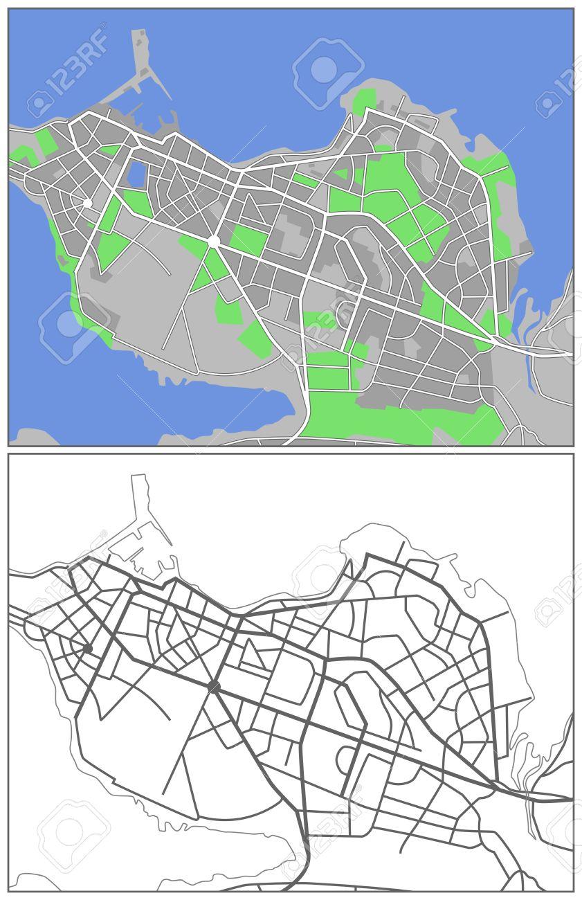 Illustration City Map Of Reykjavik Royalty Free Cliparts Vectors - Reykjavík map