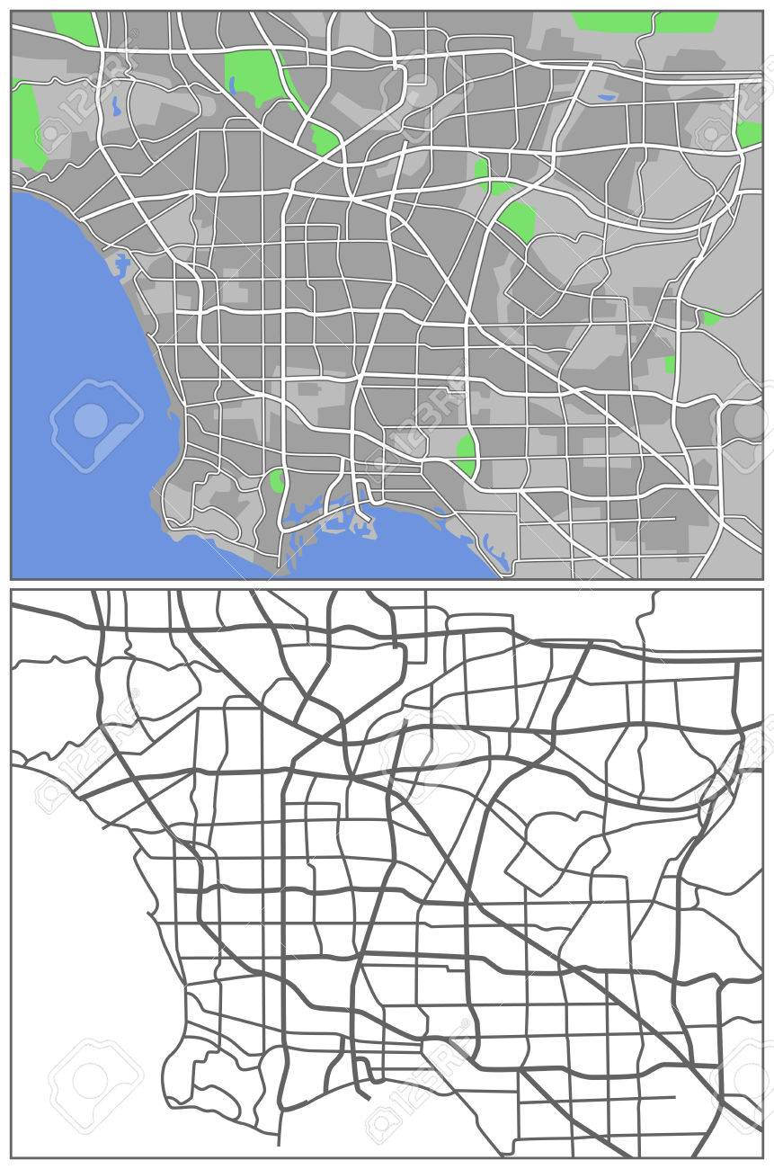 Illustration City Map Of Los Angeles Royalty Free Cliparts - Los angeles map vector