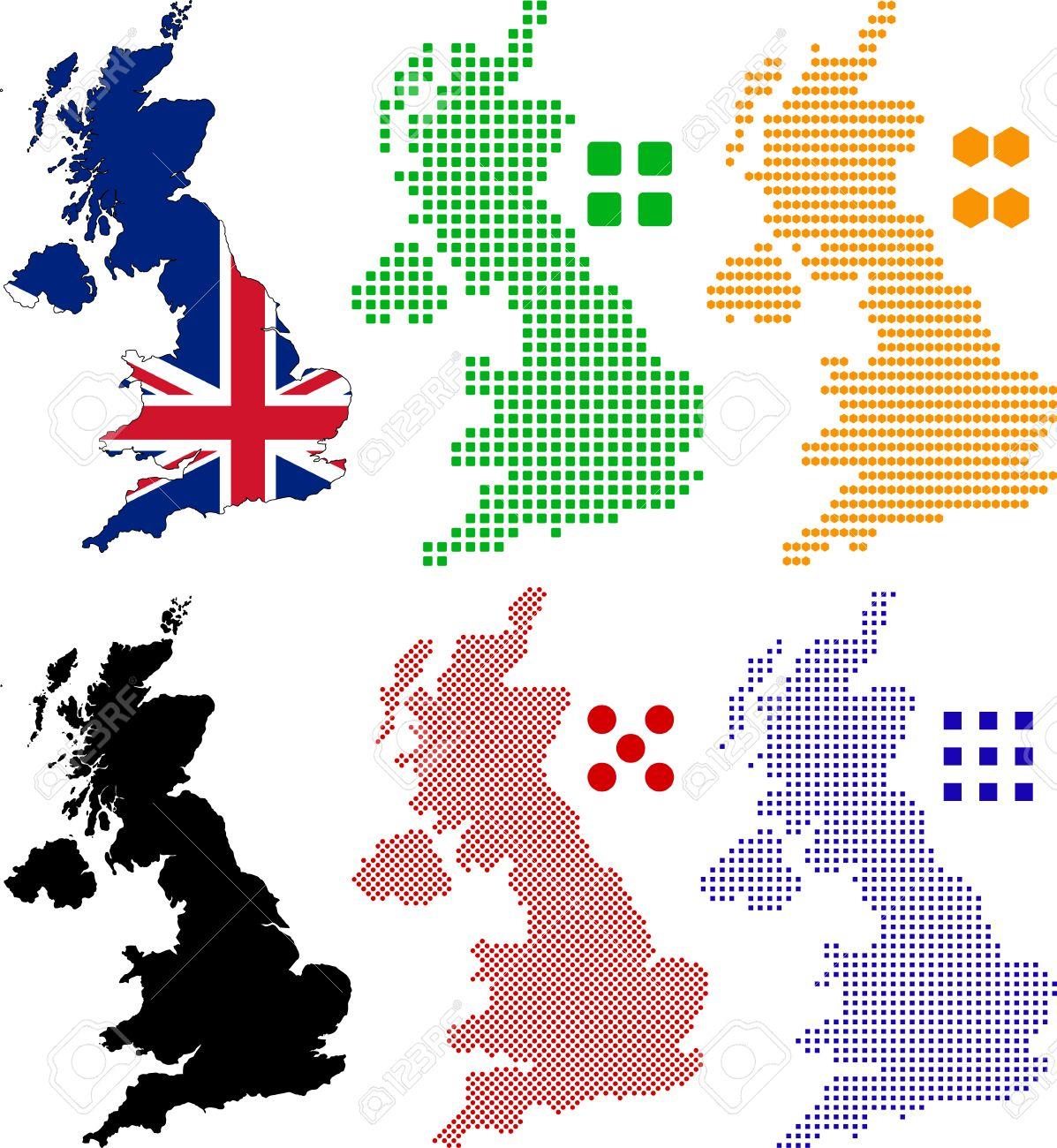 Carte De Pixel Stratifiée Et Le Drapeau Du Royaume Uni