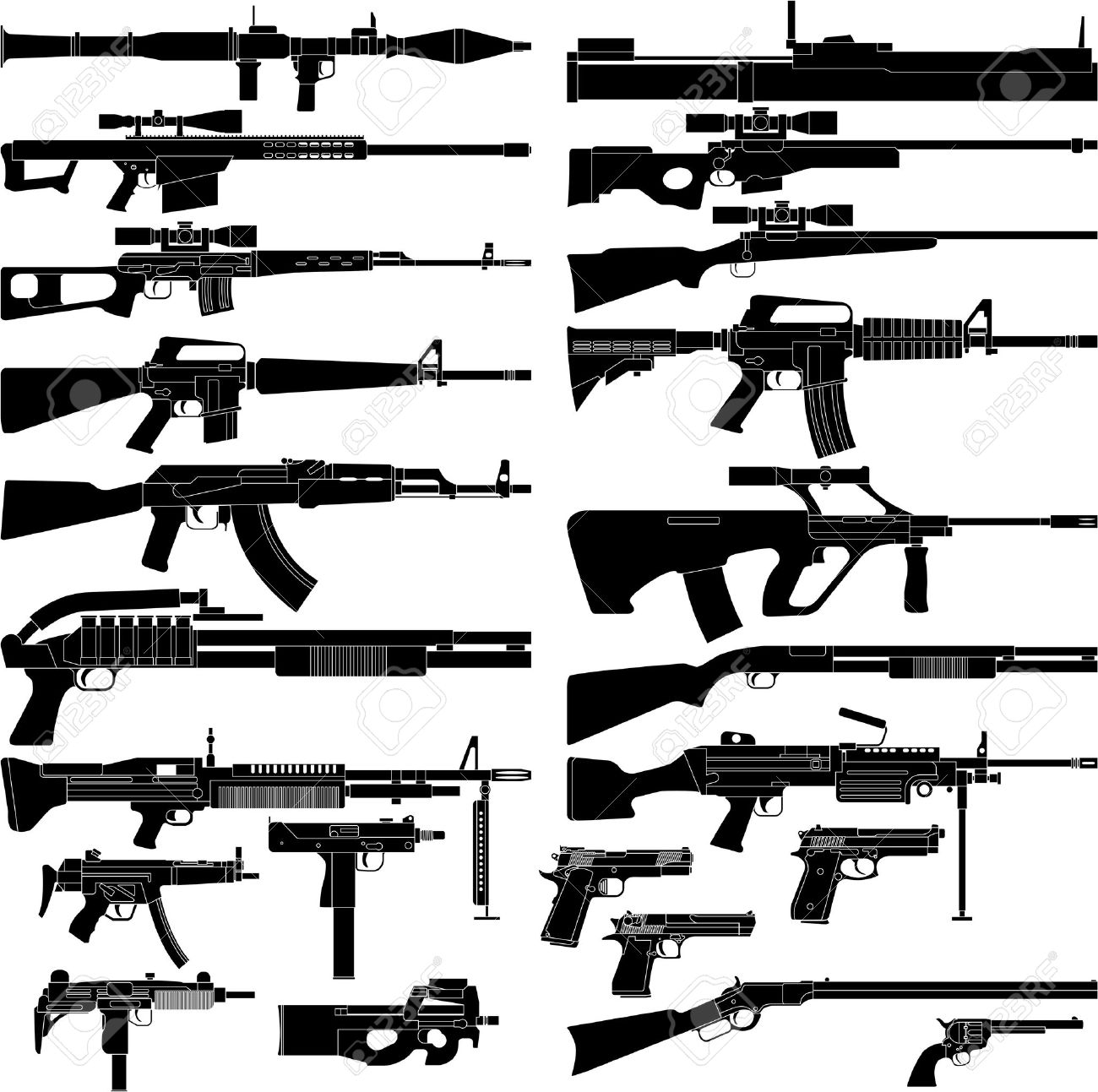 Layered vector illustration of various weapons. - 9326596