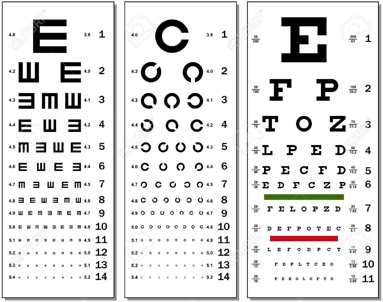 Three kinds of eye chart royalty free cliparts vectors and three kinds of eye chart stock vector 9673982 geenschuldenfo Choice Image
