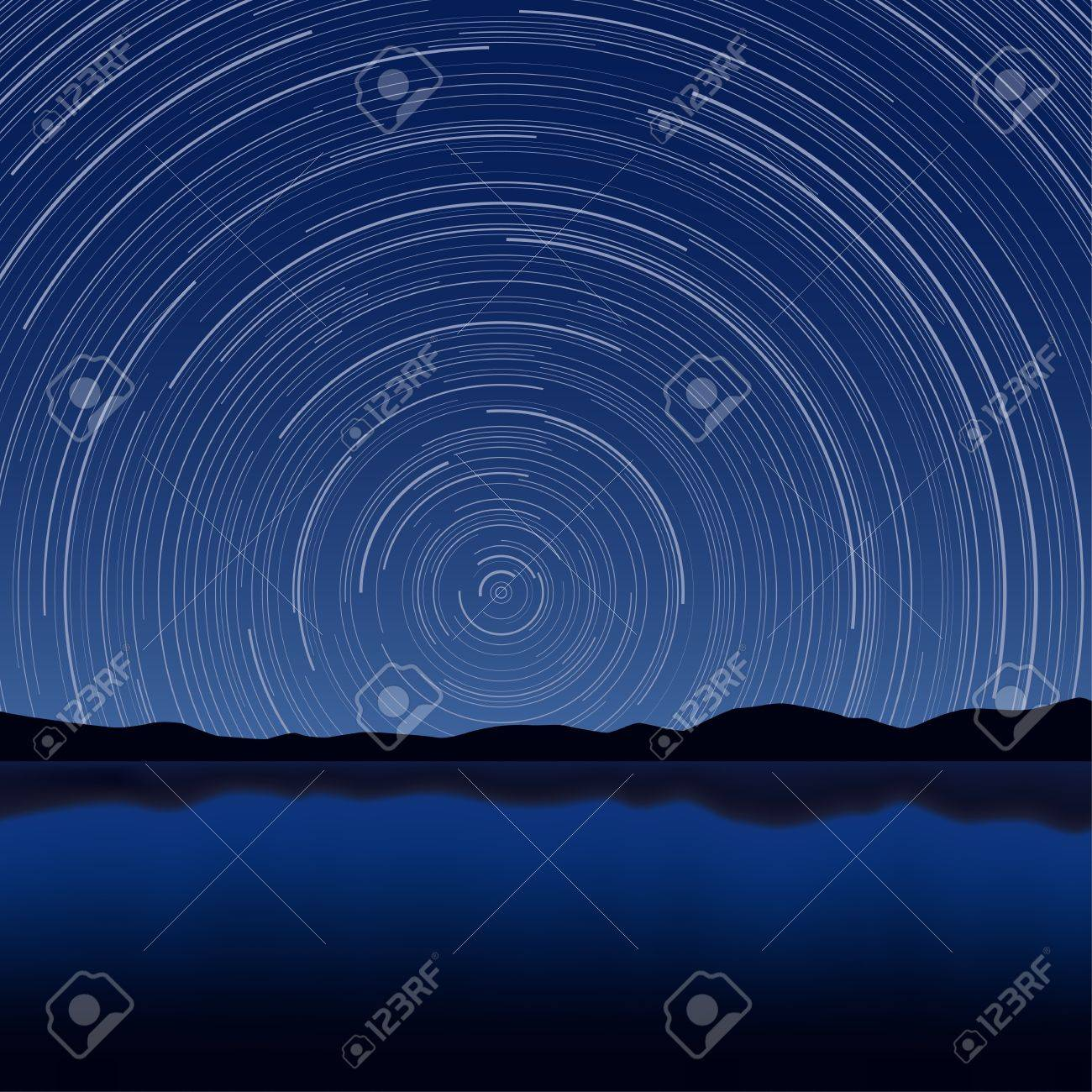 Layered  illustration of Star Trail with long exposure effect Stock Vector - 16456202