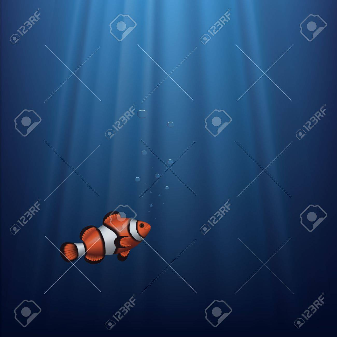 Layered vector illustration of a clownfish under water with sunbeam Stock Vector - 16490631