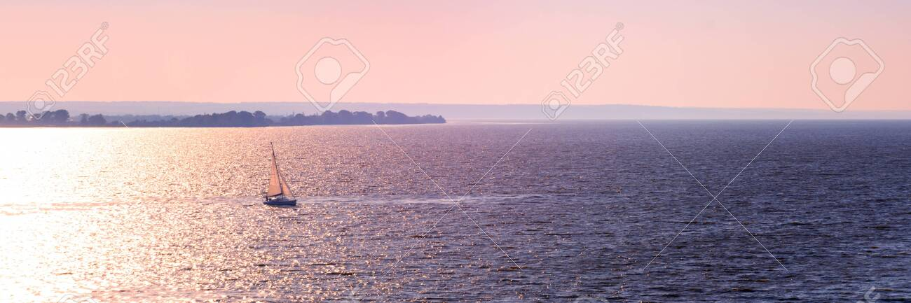 Banner 3: 1. Sailboat in the sea in the evening sunlight over sky background. Luxury summer adventure or active vacation concept. Copy space - 151917658