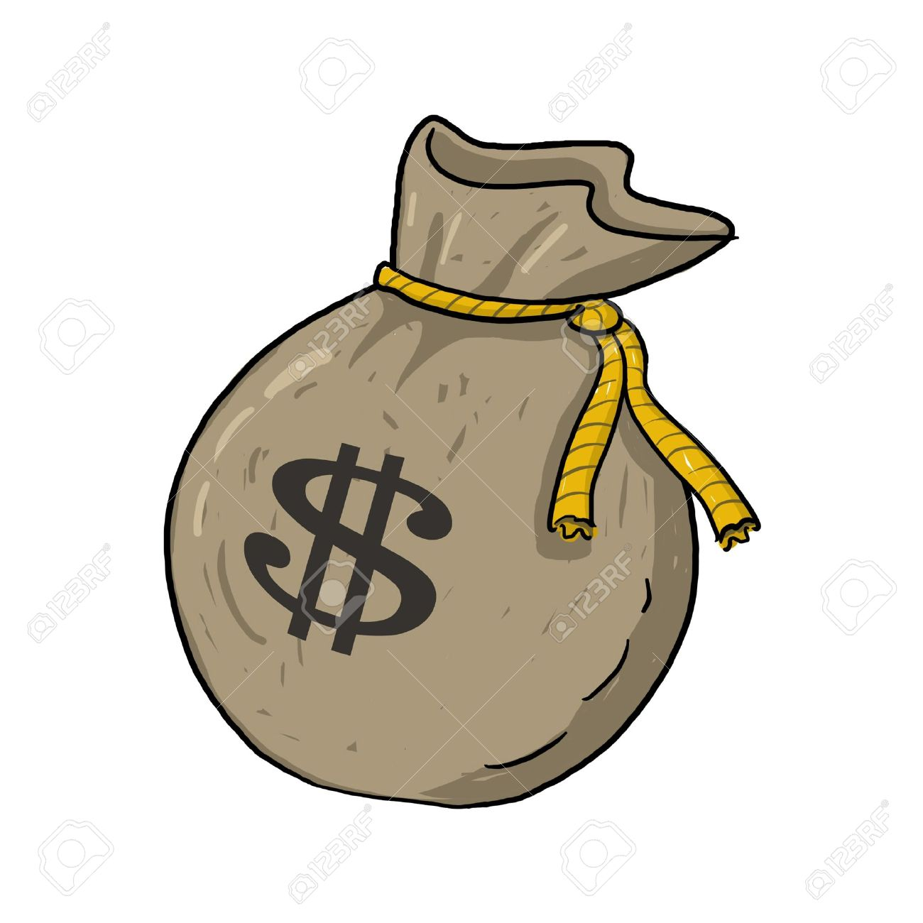 Sack of money with dollar sign illustration; Green sack of money drawing; Isolated money bag with dollar sign on it; sack of money with $ sign cartoon style illustration Stock Illustration - 9640753