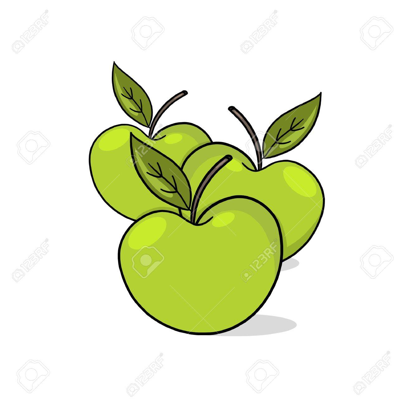 A Few green Apples; A Few Apples drawing; 3 fresh apples illustration Stock Illustration - 9640749