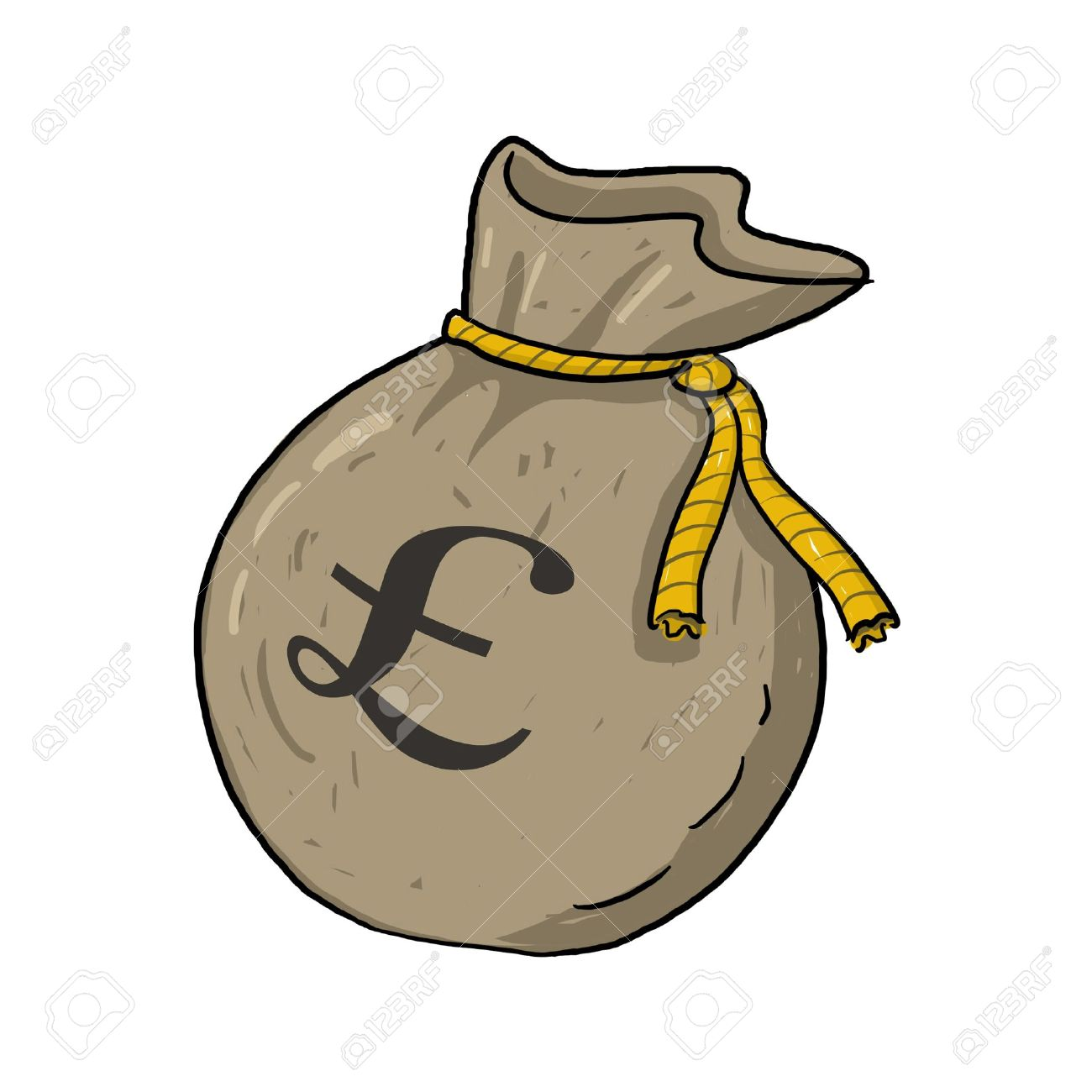 Sack of money with pound sterling sign illustration; Green sack of money drawing; Isolated money bag with pound sterling sign on it; sack of money with � sign cartoon style illustration Stock Illustration - 9640751