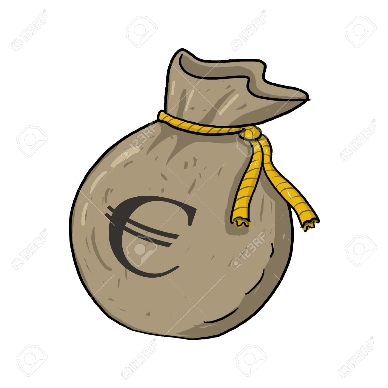 Sack Of Money Illustration With Euro Sign Brown Bag Full Of Stock