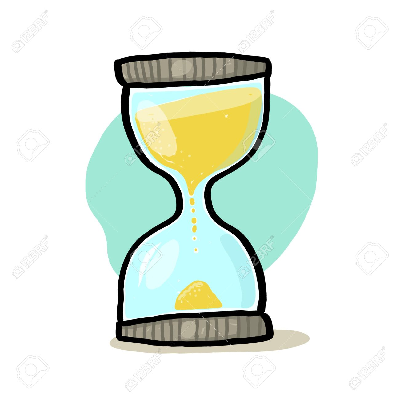 Hourglass illustration; Sand glass drawing; Time Stock Illustration - 9703450