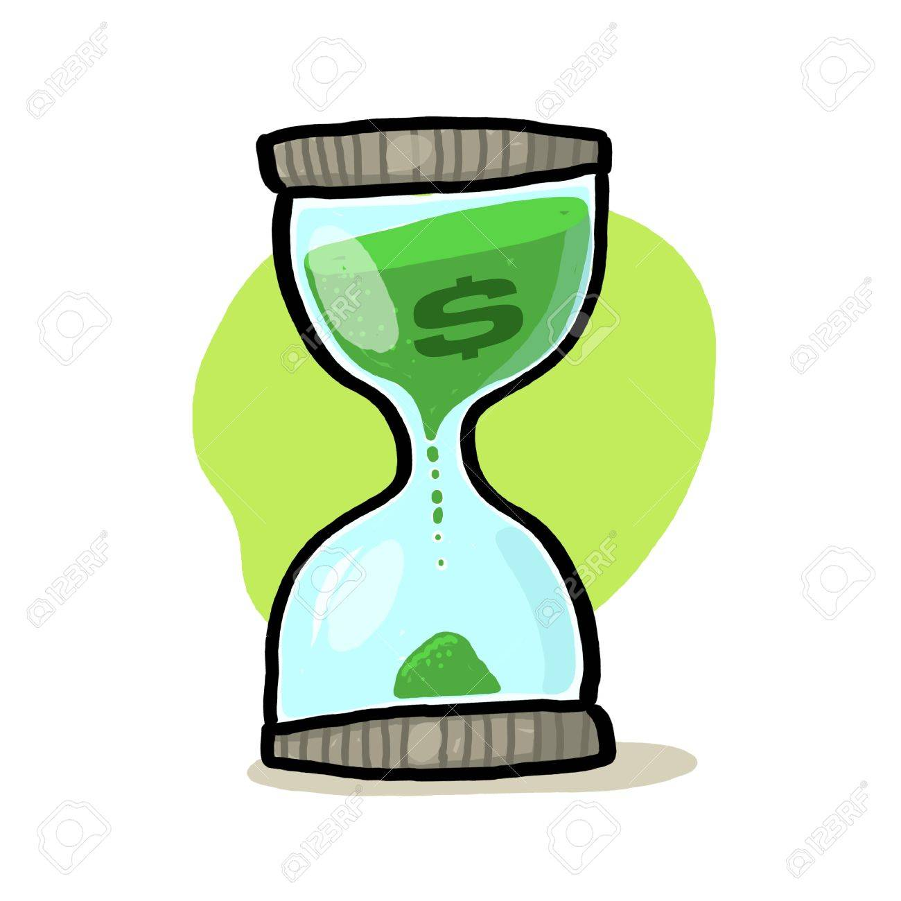 Hourglass with dollar sign illustration; Sand glass with dollar sign drawing; Hourglass Illustration; Time and money Stock Photo - 9703453