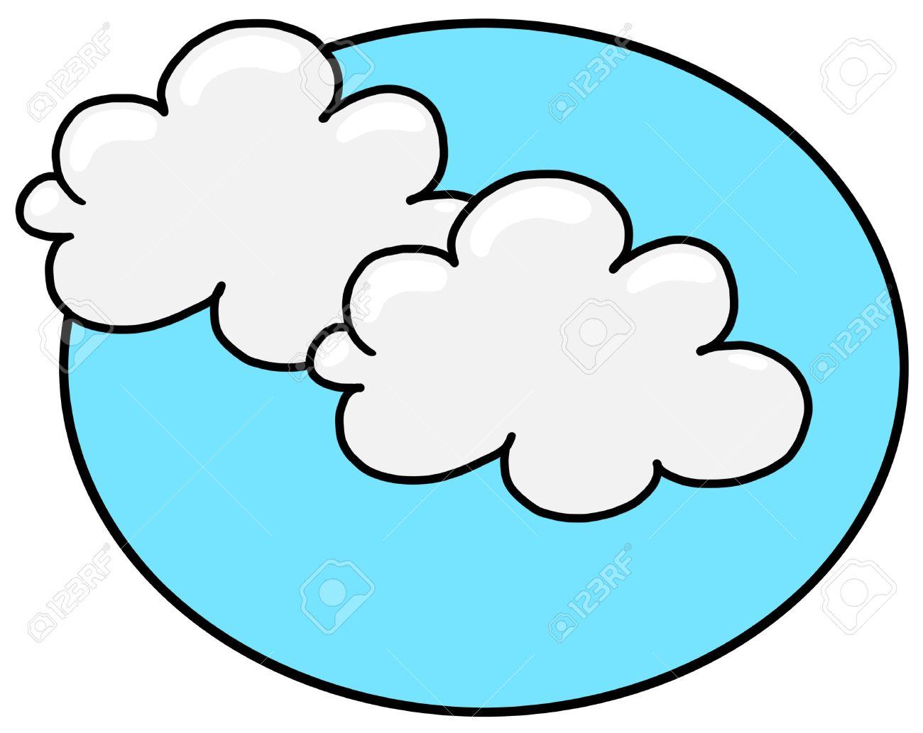 Nubes Blancas Con Ilustración De Cielo Azul Dibujo A Mano Alzada De