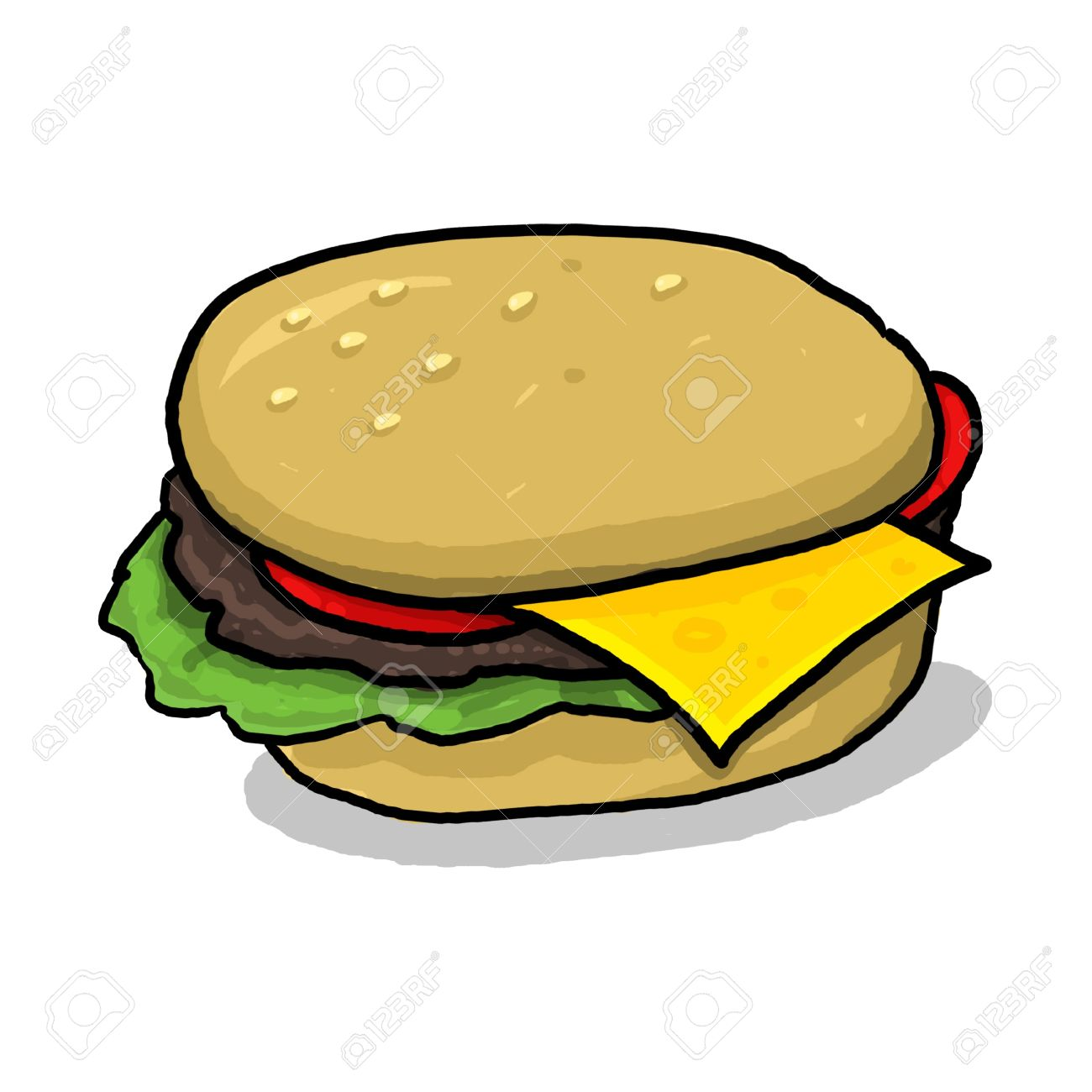 isolated cheeseburger illustration; hamburger with all the condiments; meat and vegetables between two halves of a hamburger bun; cartoon style cheeseburger drawing Stock Illustration - 9924050