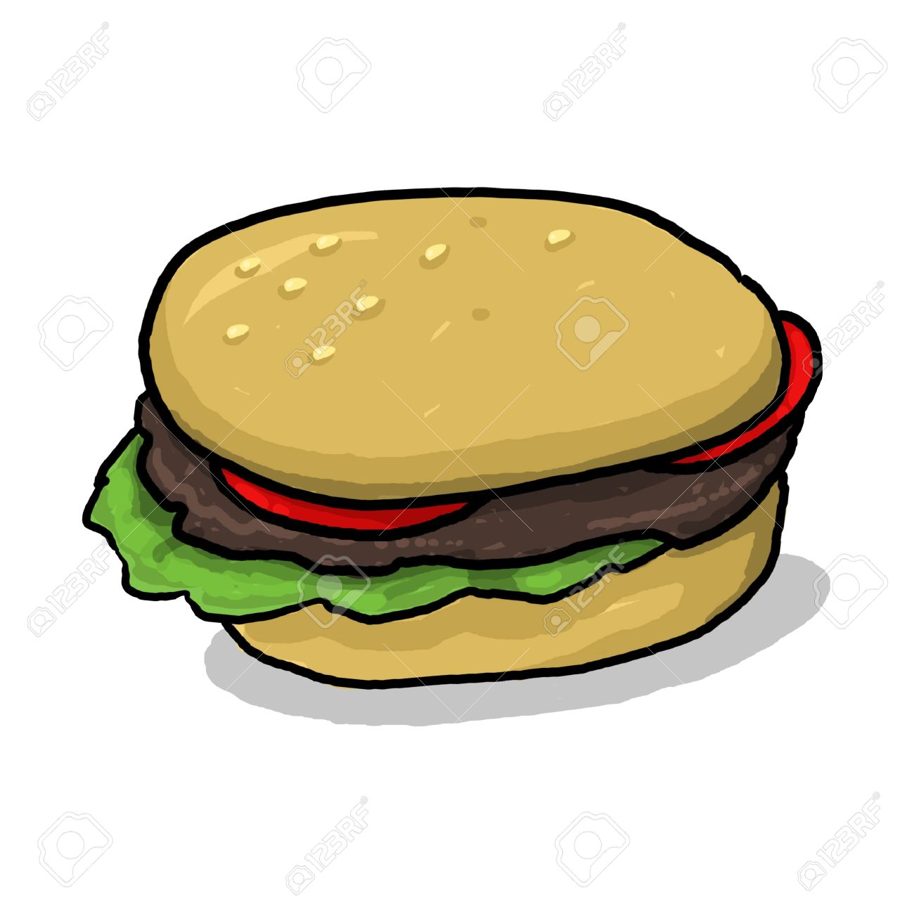 isolated hamburger illustration; hamburger with all the condiments; meat and vegetables between two halves of a hamburger bun; cartoon style hamburger drawing Stock Illustration - 9924049