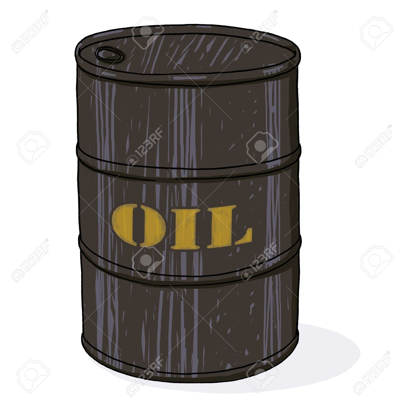 Oil barrel illustration; Isolated oil barrel drawing; oil barrel with printed golden text cartoon style illustration Stock Illustration - 9924055
