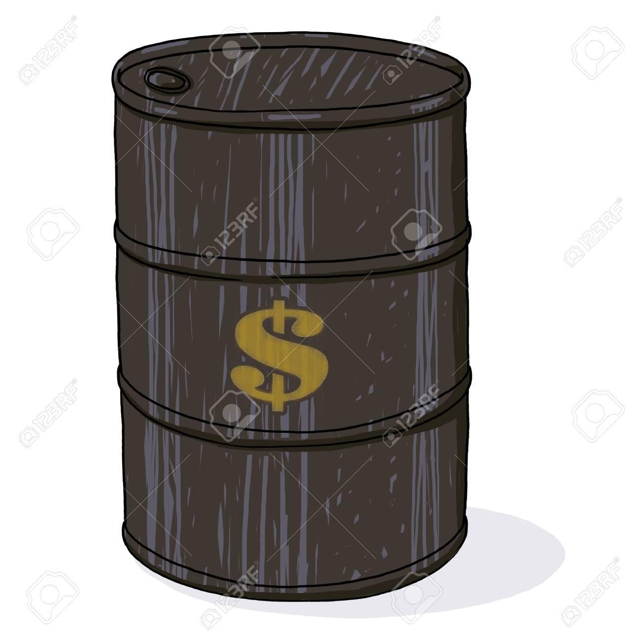 Oil barrel with dollar sign; Isolated oil barrel illustration Stock Illustration - 9924056