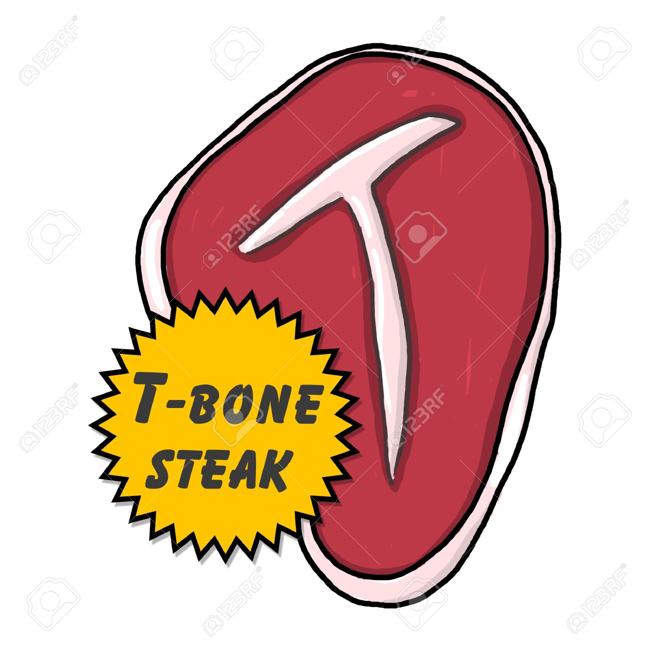 T-bone steak illustration; isolated Juicy  T-bone steak with a golden seal; steak cartoon style drawing Stock Illustration - 9924053