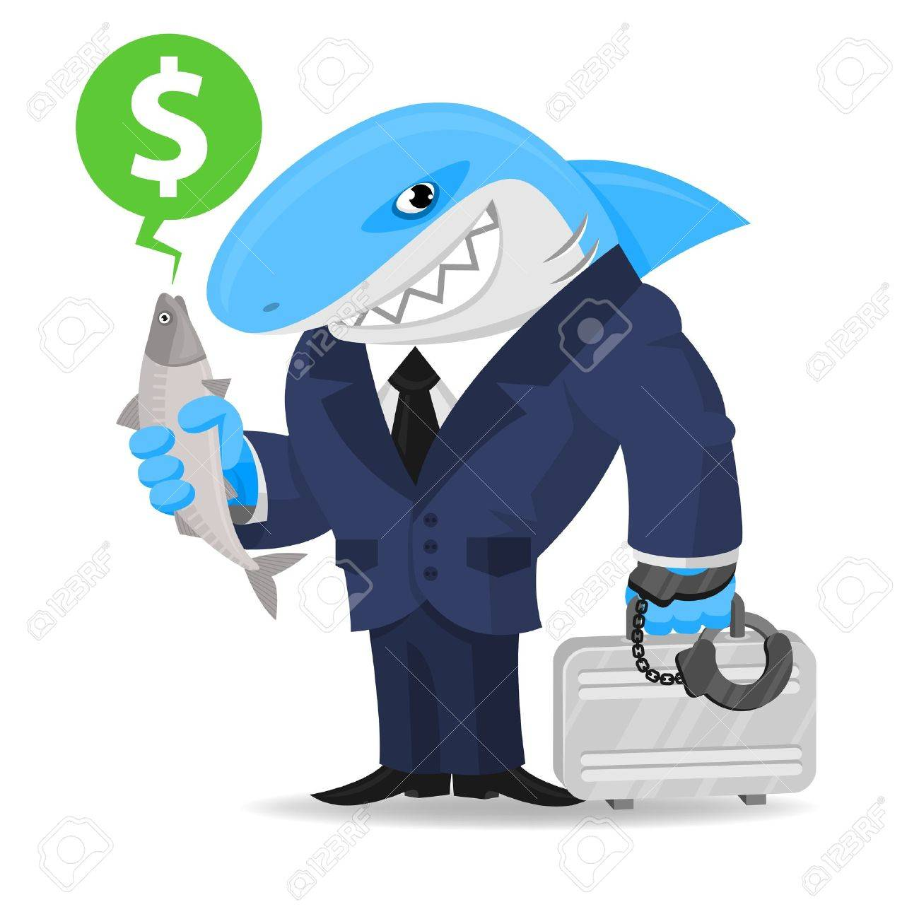 Shark business keeps suitcase and fish Stock Vector - 19156807