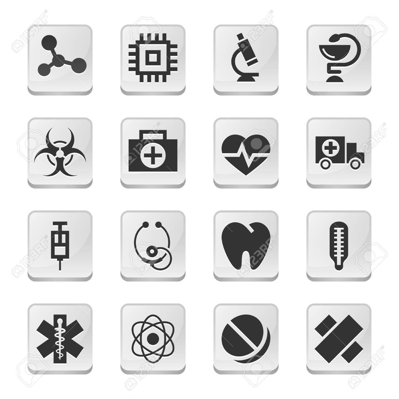 Rectangular medical icons Stock Vector - 23892684