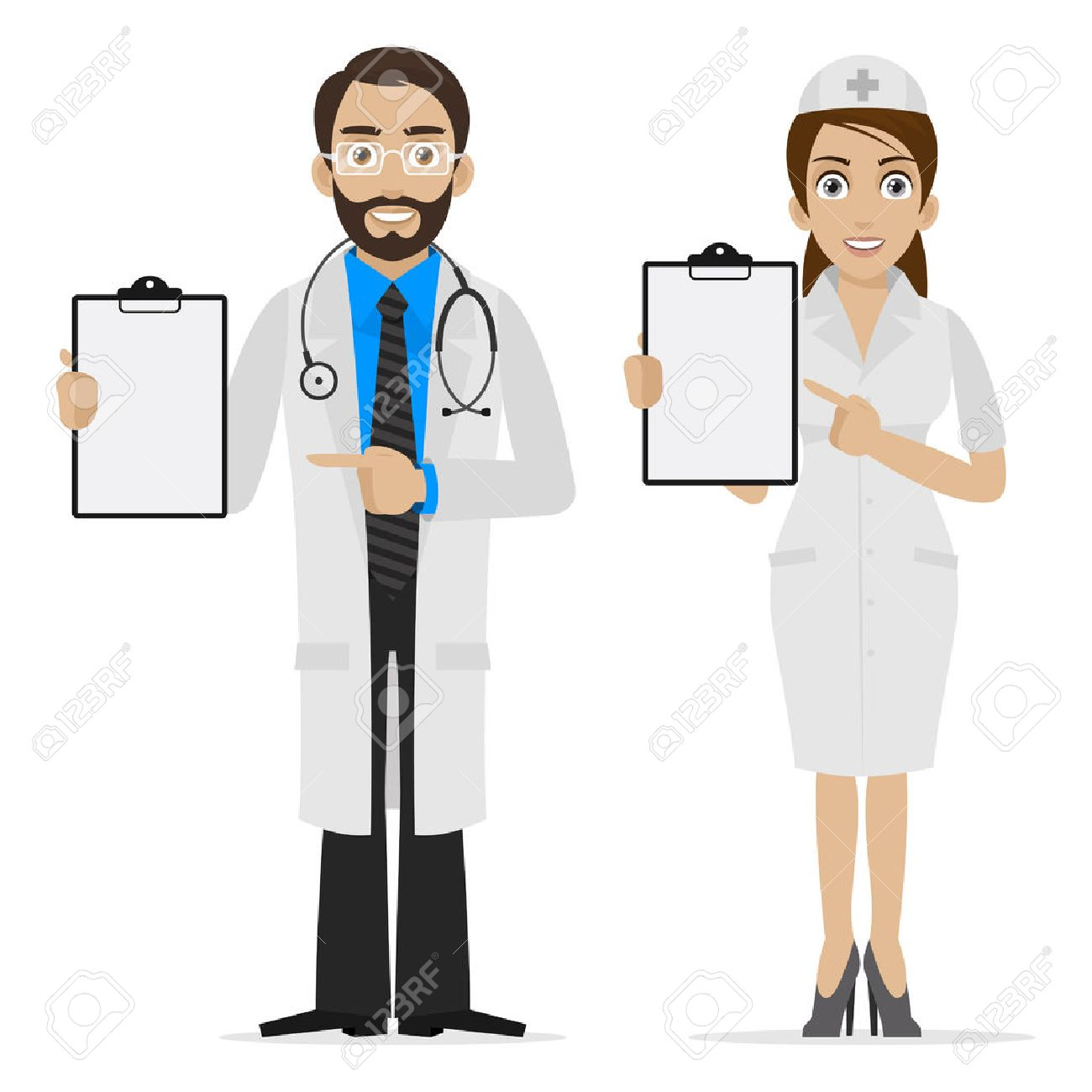 Doctor and nurse specifies on form Stock Vector - 24240855