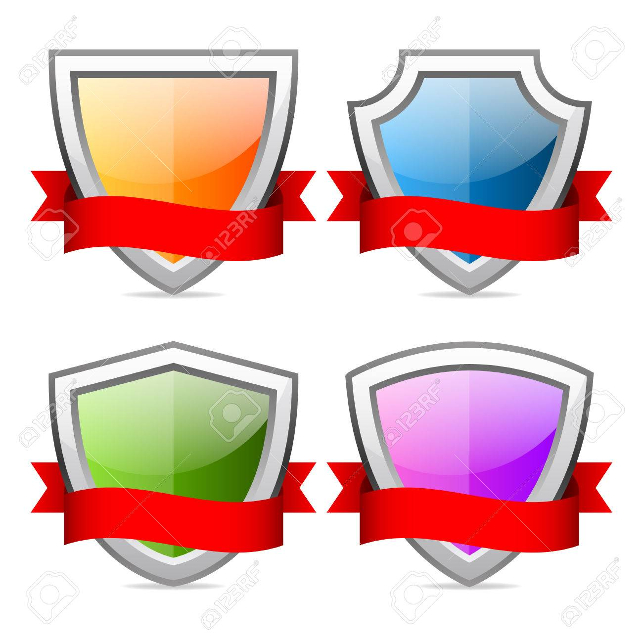 Shields icons with red ribbon Stock Vector - 27360985