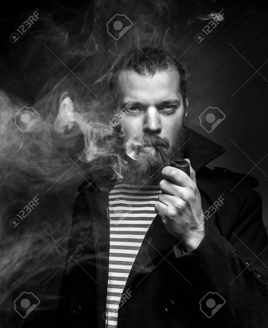 Sailor Man With Beard Smoking Pipe Black And White Photo Creativity Stock Photo Picture And Royalty Free Image Image 99528993