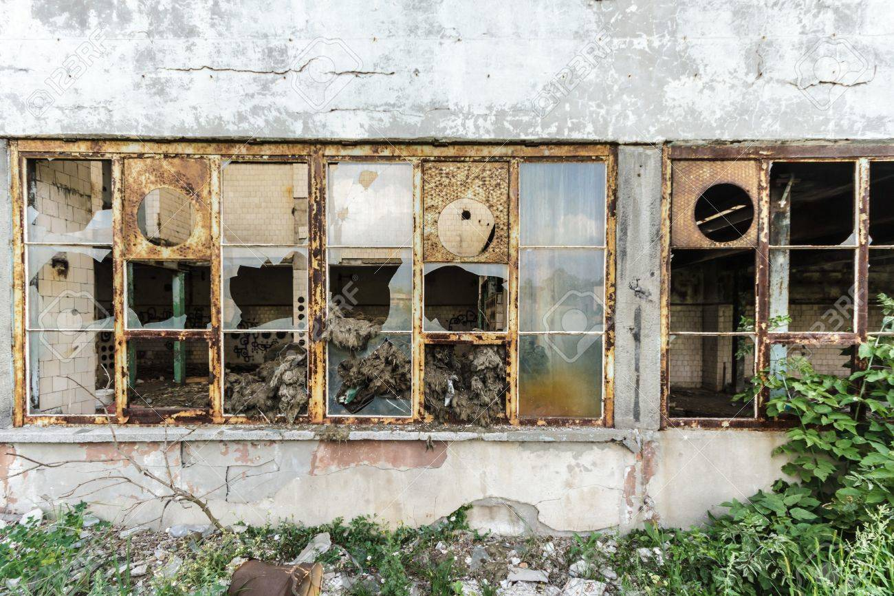 wide angle view of an old wall abandoned factory building Stock Photo - 15131608
