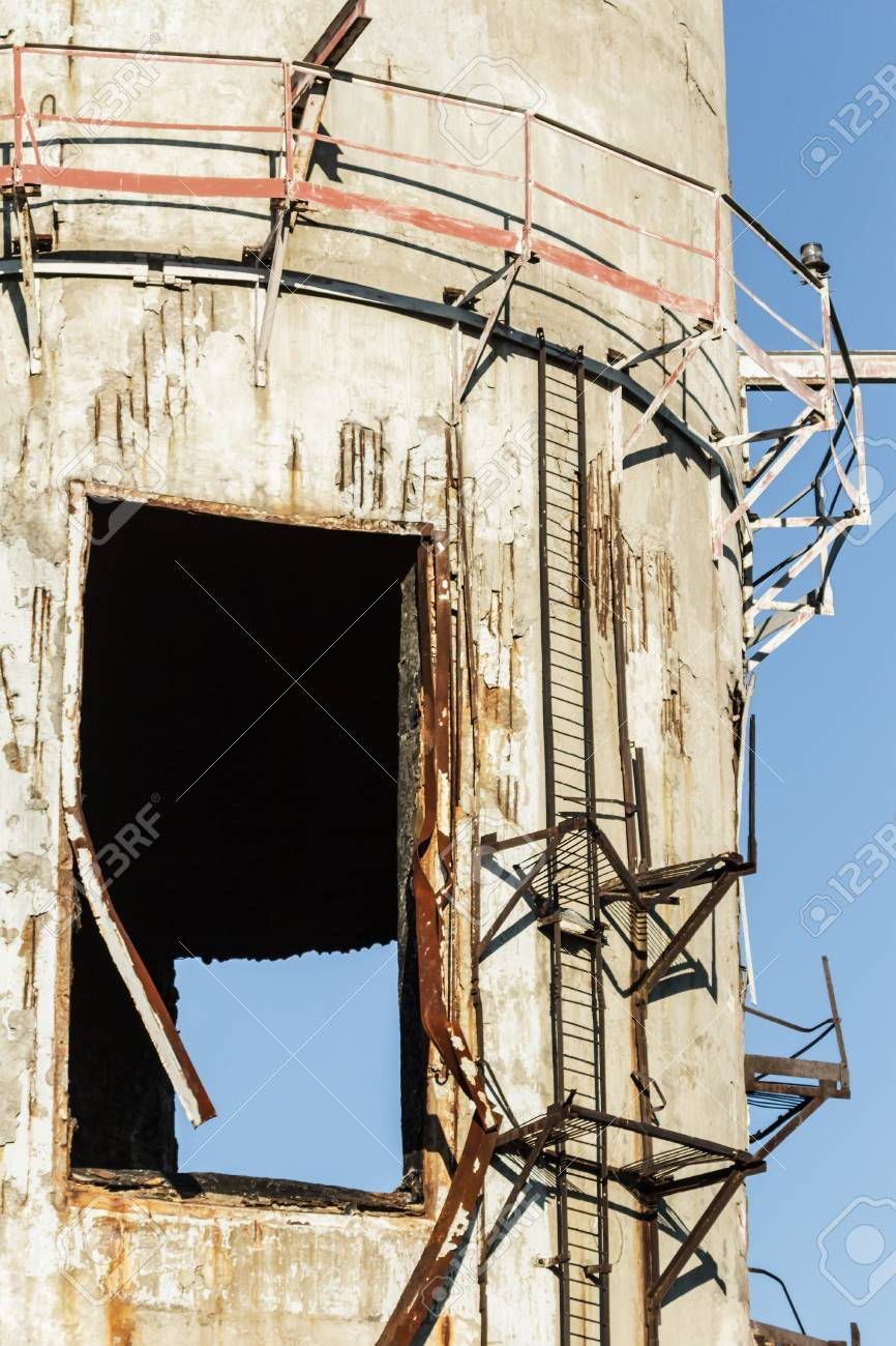 wide angle view of an old wall abandoned factory building Stock Photo - 15998867