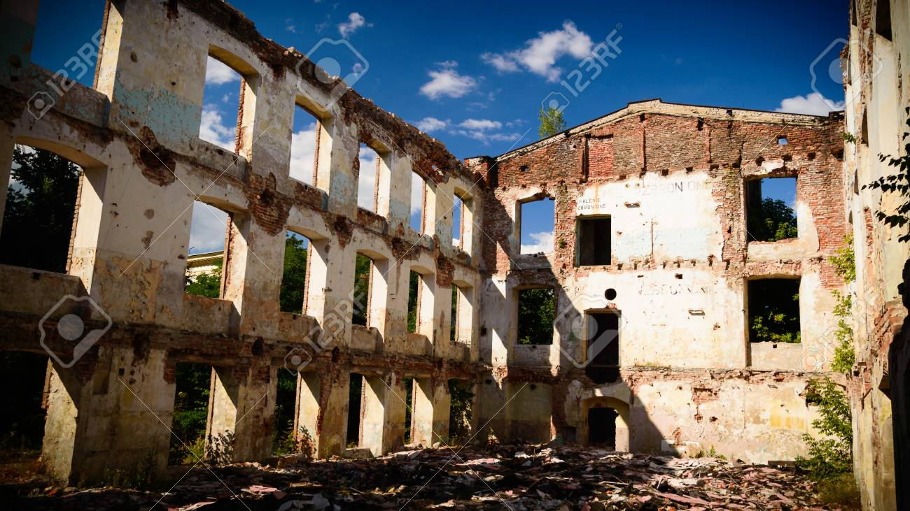 discarded ruin with old windows and wall, industrial window in concrete wall Stock Photo - 21906617