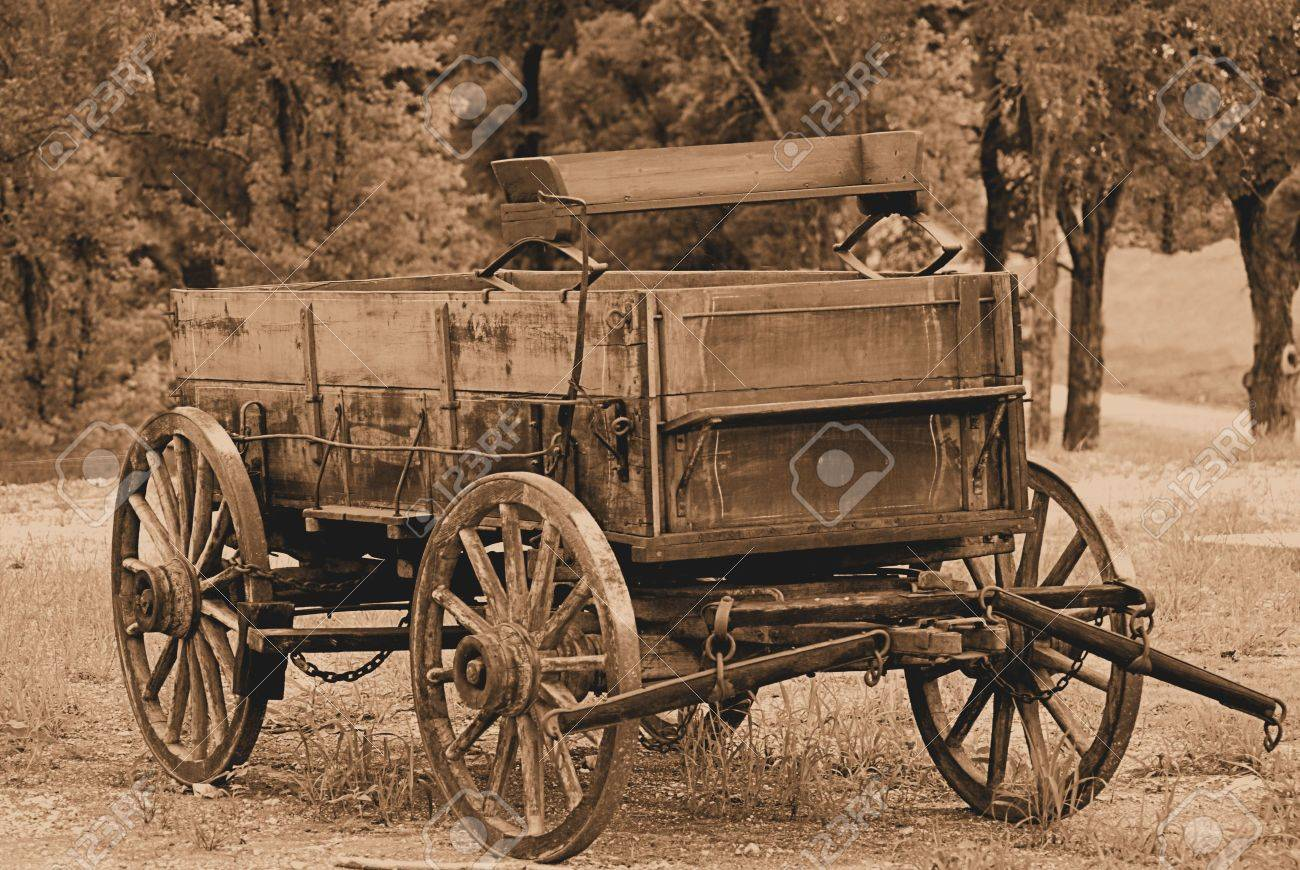 An Old Covered Wagon In Sepia Stock Photo, Picture And Royalty Free ...