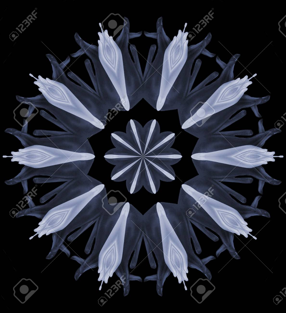 A light blue digital design made out of porcelain hands and flowers