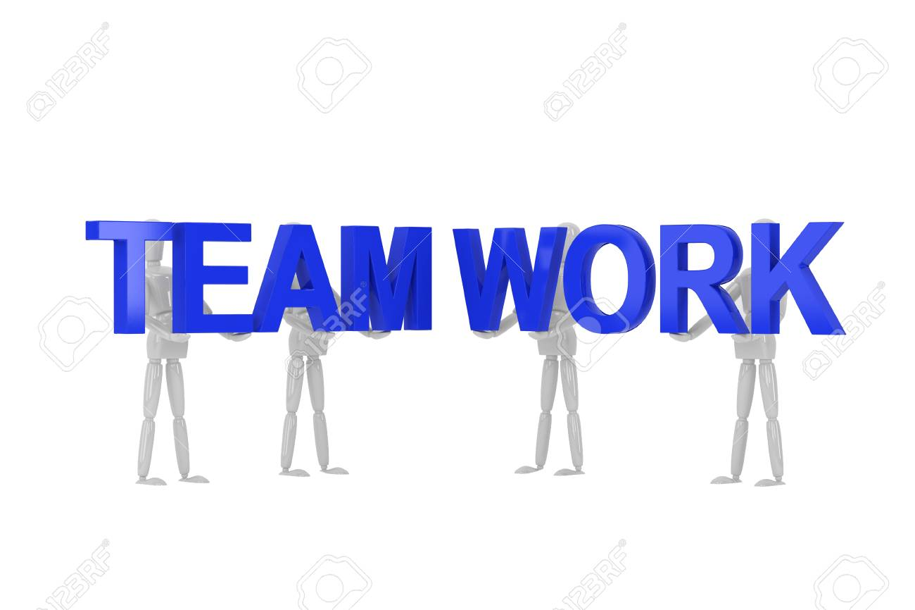 three dimention model render team work word in isolate with clipping