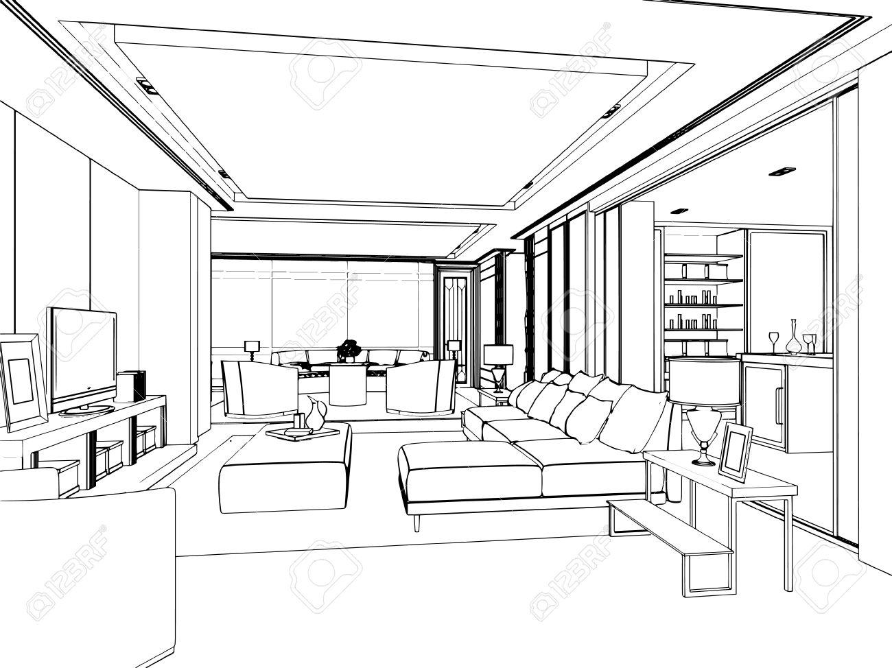 Interior Design Outline Sketch Of A Space
