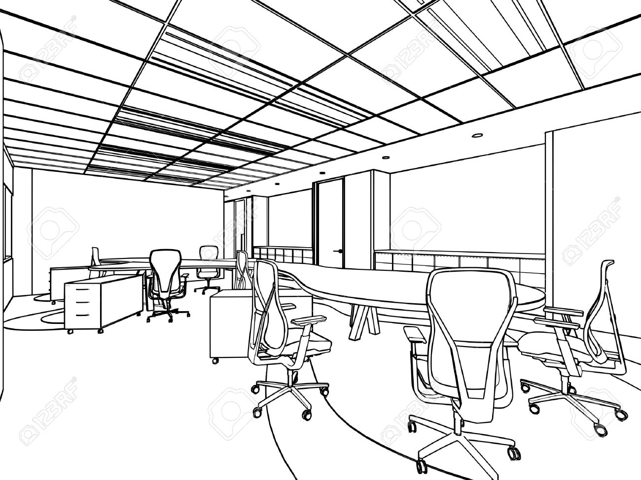 Office furniture design sketches - Outline Sketch Drawing Of A Interior Space Office