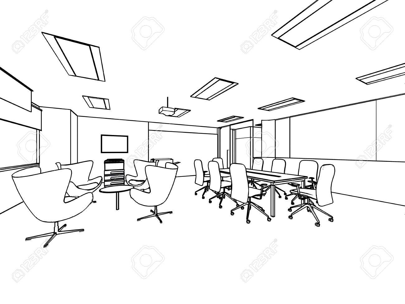 Outline Sketch Drawing Perspective Of A Interior Space Office ...
