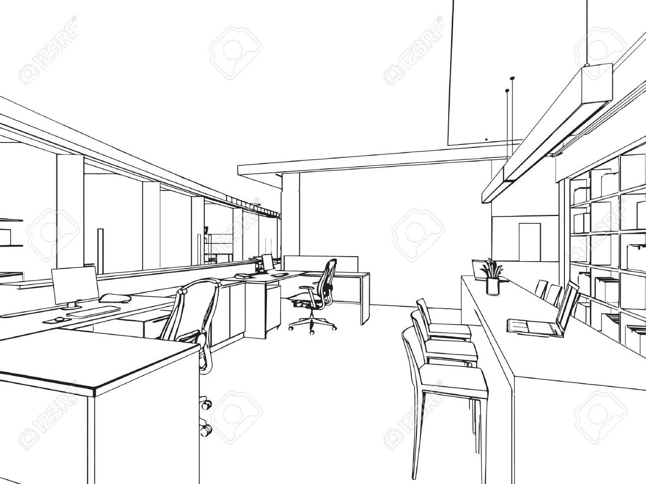 outline sketch drawing perspective of a interior space - 47595489