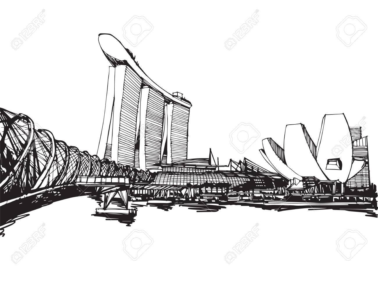 Line Art City : Free hand sketch vector panoramic singapore city royalty